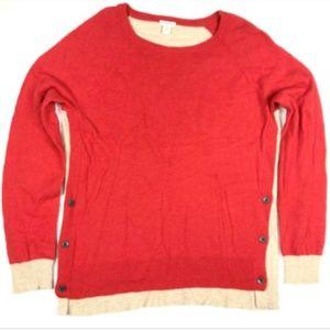 J. Crew Medium Elbow Patch Red Tan Sweater